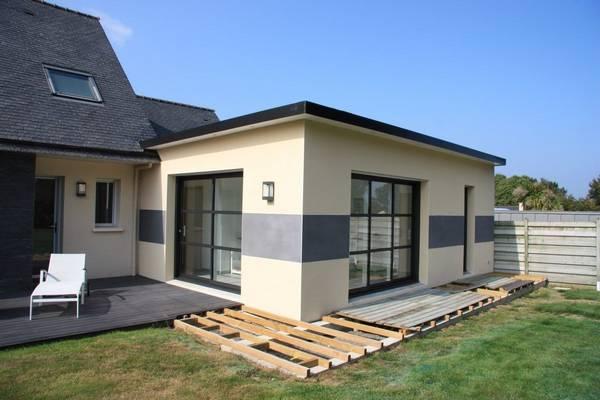 extension toit plat sur maison ancienne